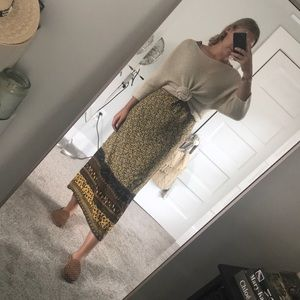 Print dress with slit